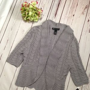 INC Gray with woven silver Cropped Knit Cardigan M
